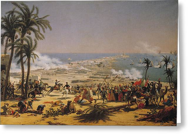 Seaport Greeting Cards - The Battle Of Aboukir, 25th July 1799 Oil On Canvas Greeting Card by Louis Lejeune