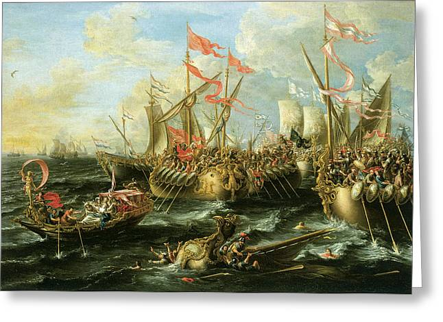 Vikings Paintings Greeting Cards - The Battle of Actium 2 September 31 BC Greeting Card by Lorenzo Castro