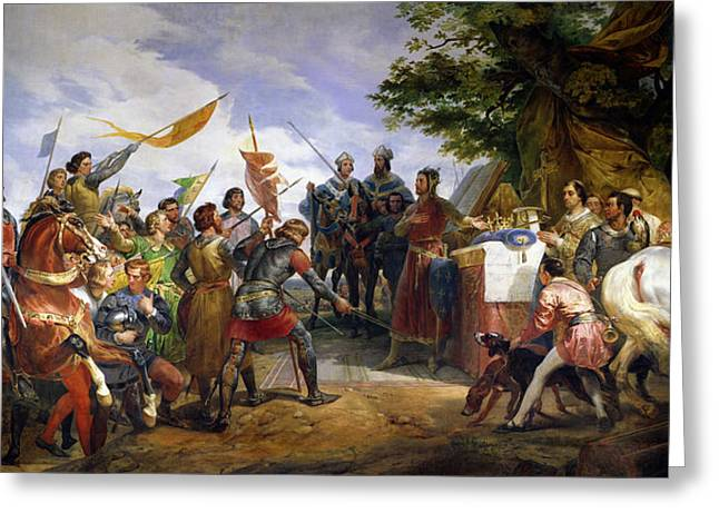 Augustus Greeting Cards - The Battle of Bouvines Greeting Card by Emile Jean Horace Vernet