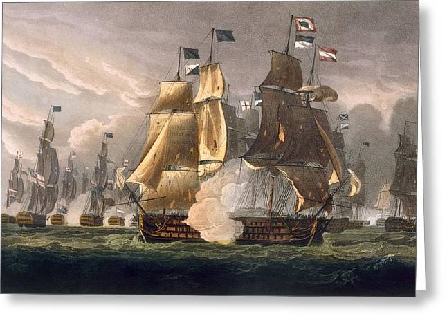 Fleeting Greeting Cards - The Battle Of Cape St Vincent Greeting Card by Thomas Whitcombe