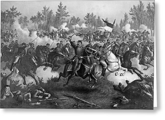 Bravery Greeting Cards - The Battle Of Cedar Creek, Oct. 19th, 1864, Pub. By Kurz & Allison, Chicago, 1890 Engraving Bw Photo Greeting Card by American School
