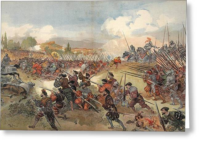 France Drawings Greeting Cards - The Battle Of Cerisole, Illustration Greeting Card by Albert Robida