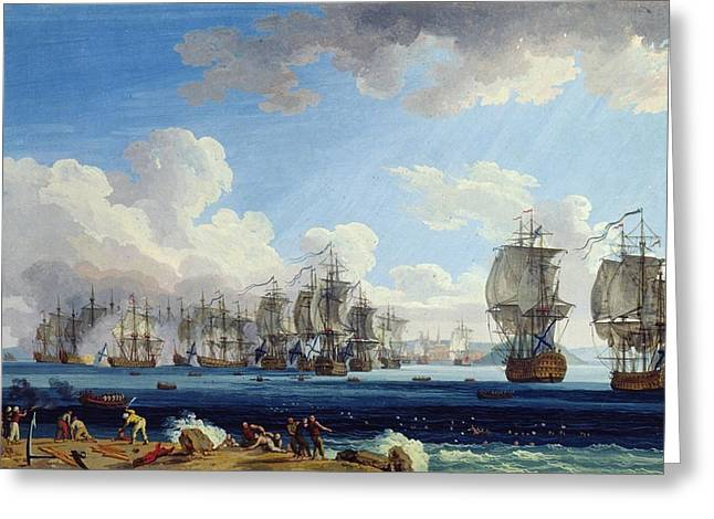 Gunfire Greeting Cards - The Battle Of Chesma On The 5th July 1770 Gouache On Paper Greeting Card by Jacob-Philippe Hackert