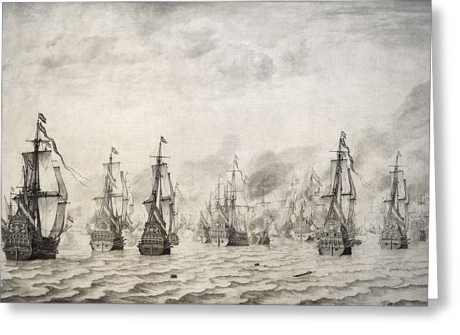 17th Greeting Cards - The Battle Of Dunkirk, 1659, By Willem Van De Velde I1611-1693 Greeting Card by Bridgeman Images