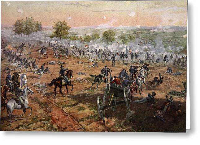 Attacking Greeting Cards - The Battle Of Gettysburg, July 1st-3rd Greeting Card by Henry Alexander Ogden