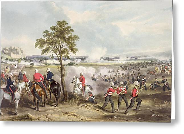 The Battle Of Goojerat On 21st February Greeting Card by Henry Martens