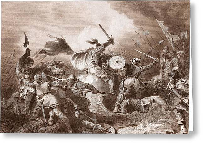 Normans Greeting Cards - The Battle Of Hastings, Engraved Greeting Card by Philippe de Loutherbourg