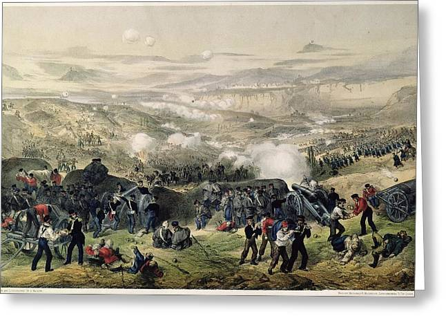 Fighting Greeting Cards - The Battle Of Inkerman, 5th November 1854, 1855 Colour Litho Greeting Card by Andrew Maclure
