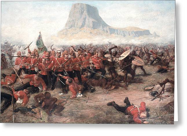 Lead Greeting Cards - The Battle Of Isandlwana The Last Stand Greeting Card by Charles Edwin Fripp