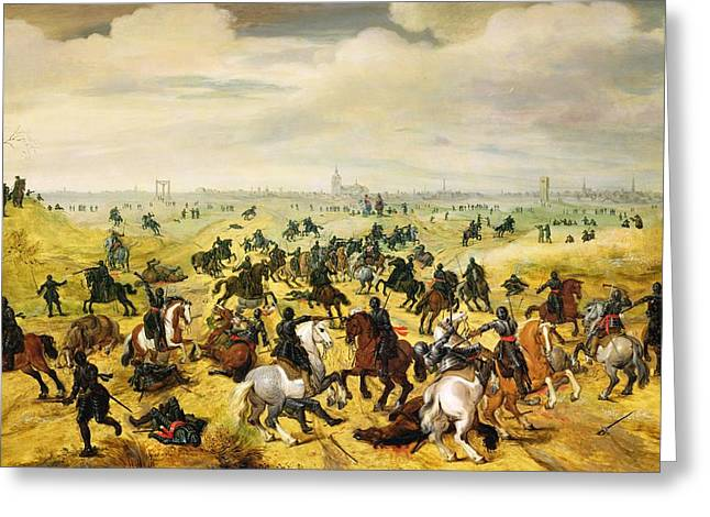 Eleven Greeting Cards - The Battle Of Leckerbeetje, 1600 Panel Pair Of 77047 Greeting Card by Sebastian Vrancx