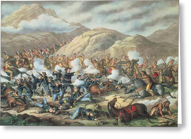 Last Stand Greeting Cards - The Battle Of Little Big Horn, June 25th 1876, 1889 Litho Greeting Card by American School