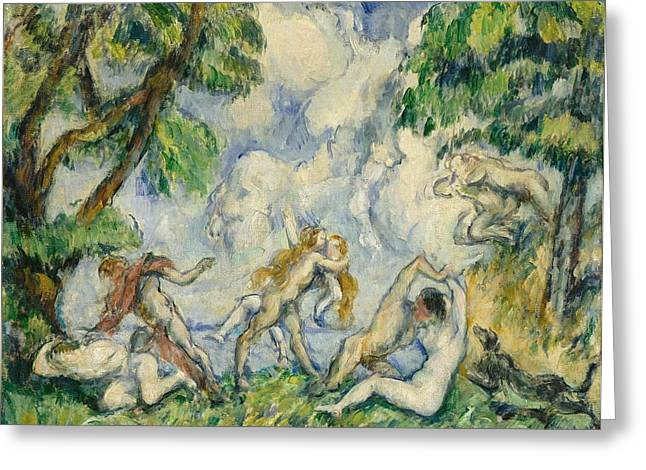 Satyr Greeting Cards - The Battle of Love Greeting Card by Paul Cezanne