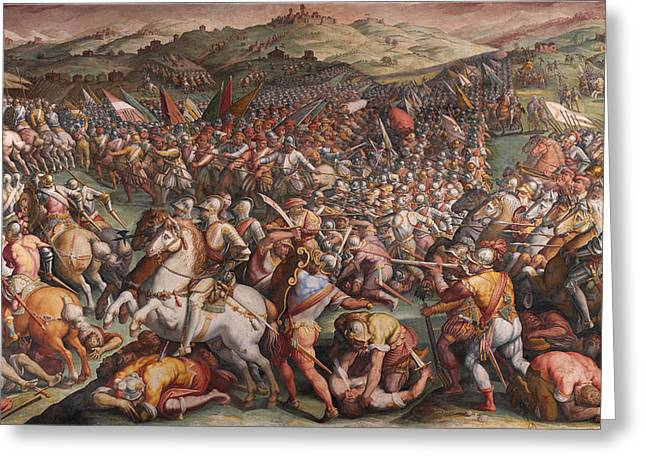 Marciano Greeting Cards - The battle of Marciano in Val di Chiana Greeting Card by Giorgio Vasari