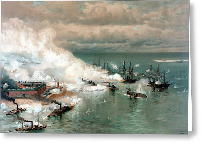 Naval History Greeting Cards - The Battle Of Mobile Bay Greeting Card by War Is Hell Store