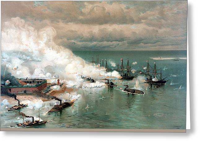 At Sea Greeting Cards - The Battle Of Mobile Bay Greeting Card by War Is Hell Store