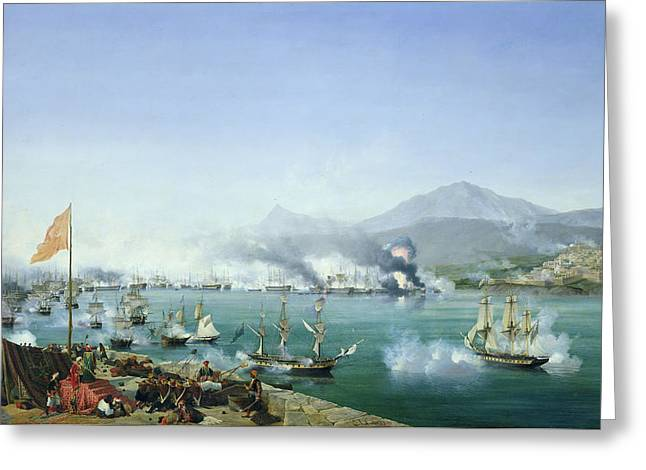 Battle Greeting Cards - The Battle of Navarino Greeting Card by Ambroise Louis Garneray