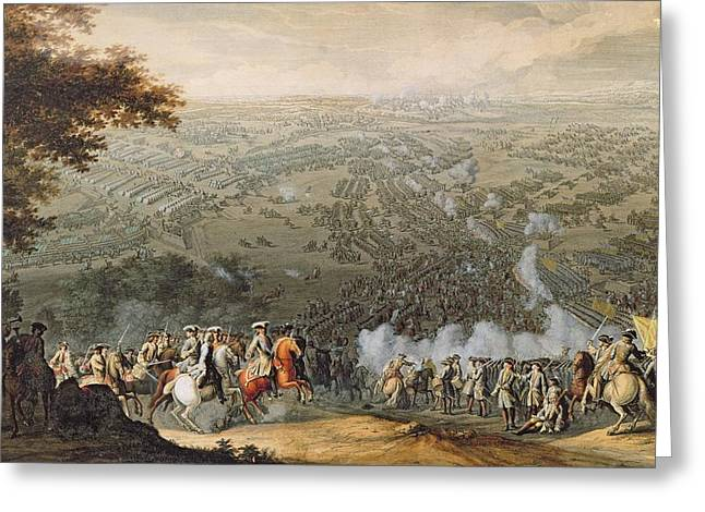 The Battle Of Poltava, Engraved By One Of The Nicolas Larmessin Family, 1709 Coloured Engraving Greeting Card by Pierre-Denis Martin