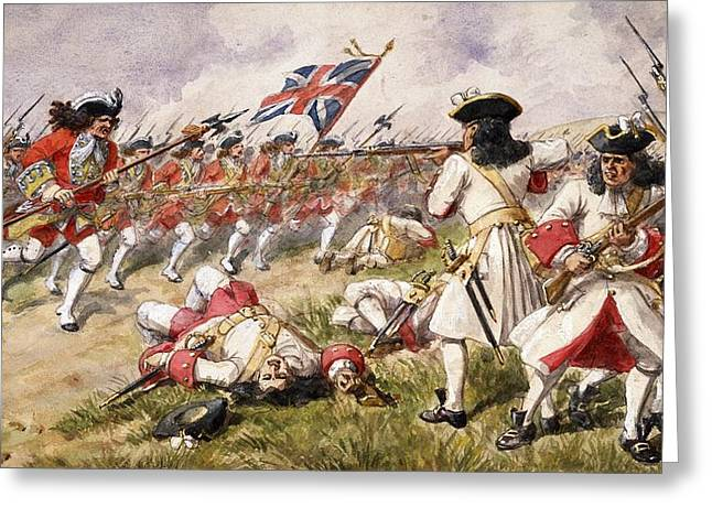 Army Soldier Greeting Cards - The Battle Of Ramillies, The 16th Foot Greeting Card by Richard Simkin