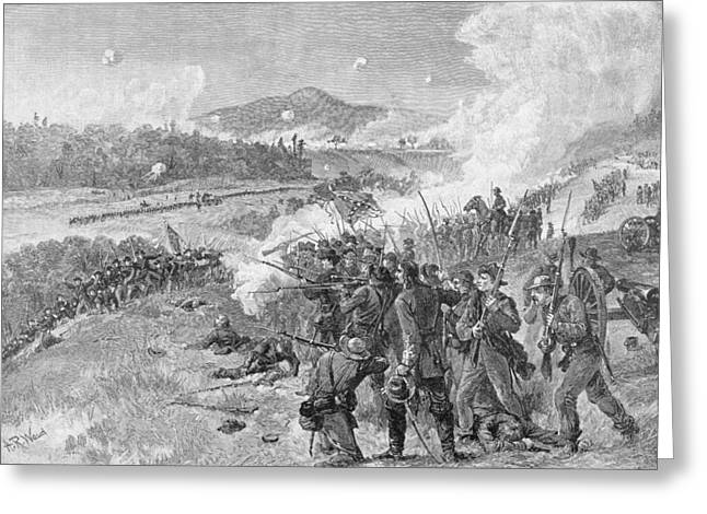 Confederate Flag Photographs Greeting Cards - The Battle Of Resaca, Georgia, May 14th 1864, Illustration From Battles And Leaders Of The Civil Greeting Card by Alfred R. Waud