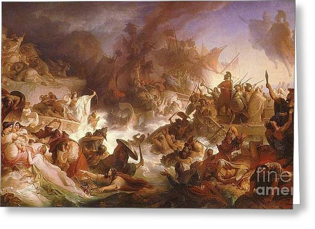 Cards Vintage Greeting Cards - The Battle of Salamis Greeting Card by Wilhelm von Kaulbach