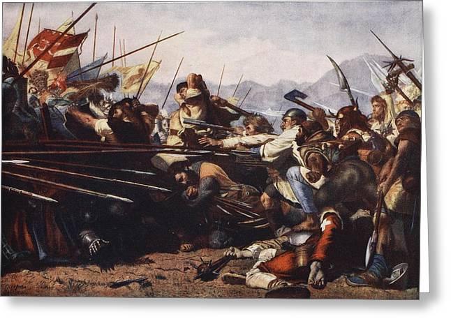Fighting Greeting Cards - The Battle Of Sempach, 1386 Greeting Card by Konrad Grob