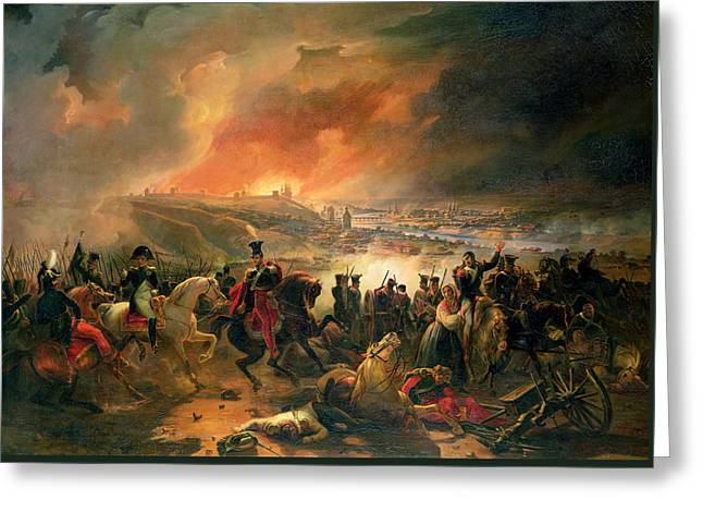 The Battle Of Smolensk, 17th August 1812, 1839 Oil On Canvas Greeting Card by Jean Charles Langlois