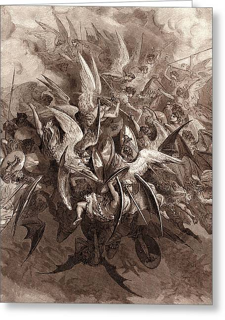 Grey Clouds Greeting Cards - The Battle of the Angels Greeting Card by Gustave Dore
