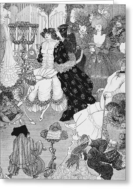 18th Century Greeting Cards - The Battle of the Beaux and the Belles Greeting Card by Aubrey Beardsley