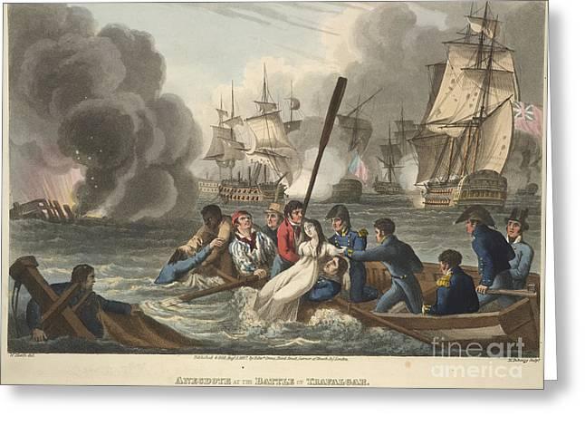 Trafalgar Greeting Cards - The Battle Of Trafalgar Greeting Card by British Library