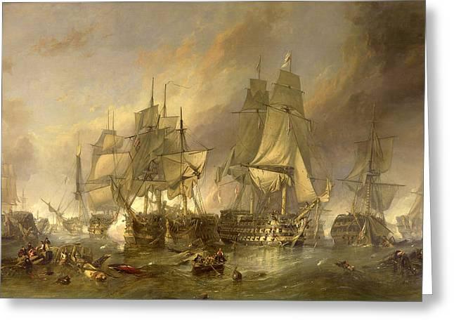 Battle Of Trafalgar Greeting Cards - The Battle of Trafalgar Greeting Card by Clarkson Frederick Stanfield