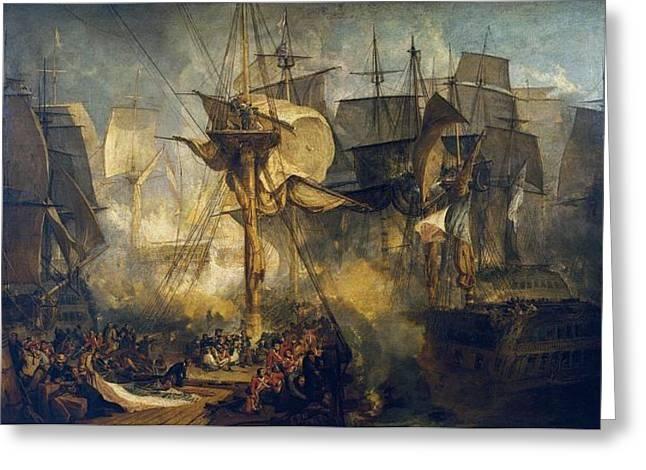 Battle Of Trafalgar Greeting Cards - The Battle of Trafalgar Greeting Card by JMW Turner