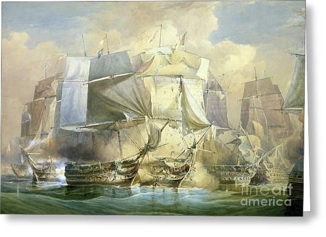 Battle Of Trafalgar Greeting Cards - The Battle of Trafalgar Greeting Card by William John Huggins