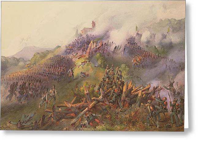 The Battle Of Vicenza The Storming Of Monte Berico, June 1848 Wc Greeting Card by Franz Gerusch