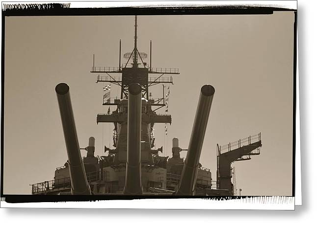 16 Inch Guns Greeting Cards - The Battle Ship Iowa Greeting Card by See My  Photos