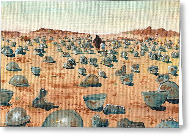 Iraq Paintings Greeting Cards - The Battlefield Greeting Card by Jera Sky