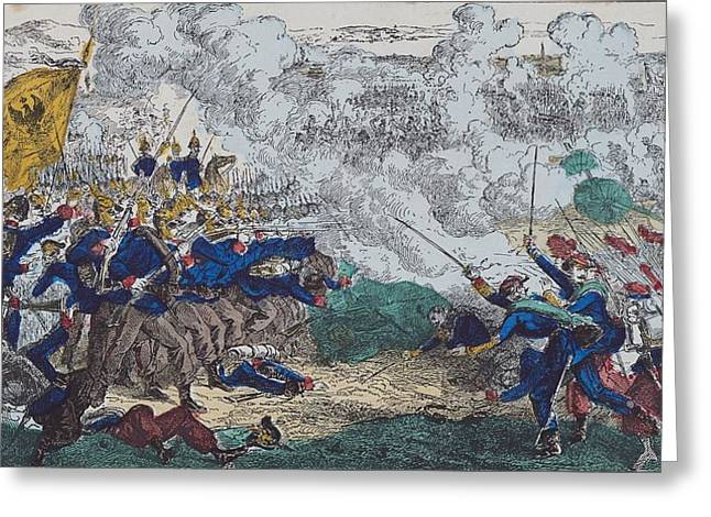 Franco Greeting Cards - The Battles Of Champigny And Villiers-sur-marne, 30th November 1870, 1870-99 Coloured Engraving Greeting Card by French School