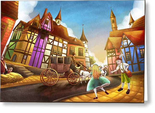 Archery Paintings Greeting Cards - The Bavarian Village Greeting Card by Reynold Jay