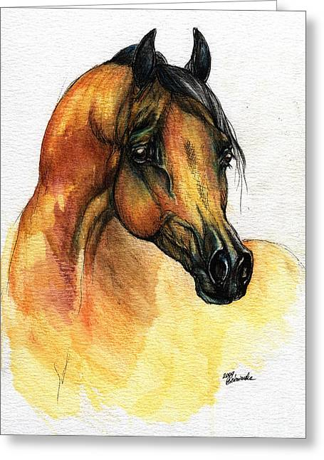 The Bay Arabian Horse 14 Greeting Card by Angel  Tarantella