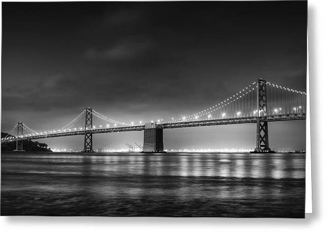 Bridge Greeting Cards - The Bay Bridge Monochrome Greeting Card by Scott Norris