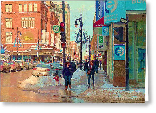 St.catherine Street Greeting Cards - The Bay Department Store Downtown Montreal University And St Catherine Winter City Scene C Spandau  Greeting Card by Carole Spandau