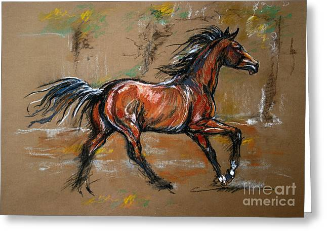 Equine Pastels Pastels Greeting Cards - The Bay Horse Greeting Card by Angel  Tarantella