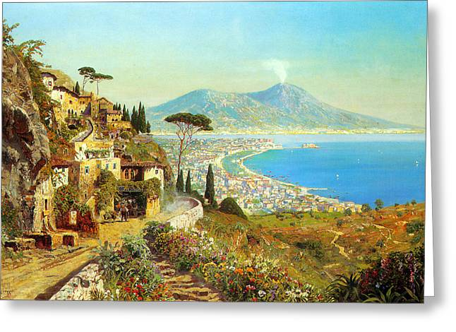 Ocean Scenes Greeting Cards - The Bay Of Naples Greeting Card by Alois Arnegger