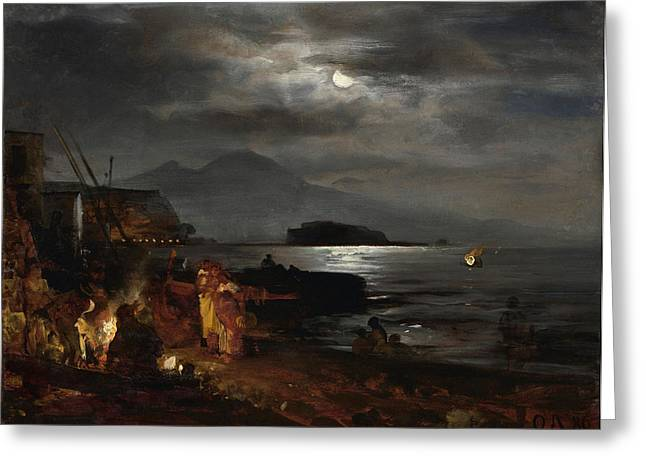 Sea Moon Full Moon Greeting Cards - The bay of Naples in the moonlight  Greeting Card by Oswald ACHENBACH