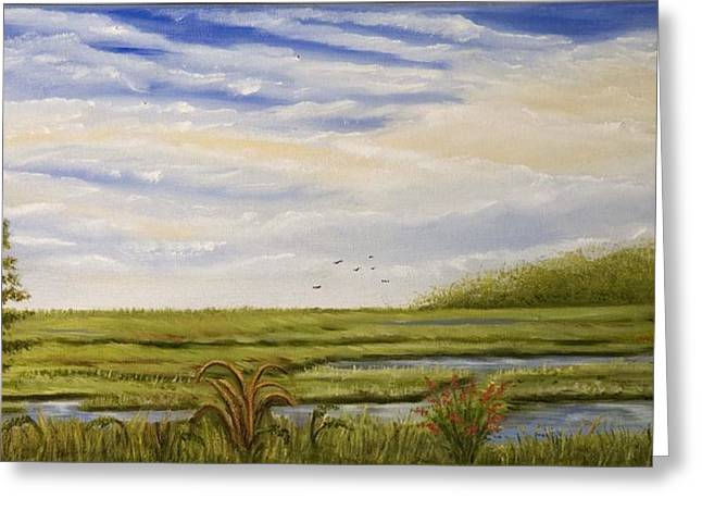 Print On Canvas Greeting Cards - The bay side of the shore Greeting Card by Susan Culver