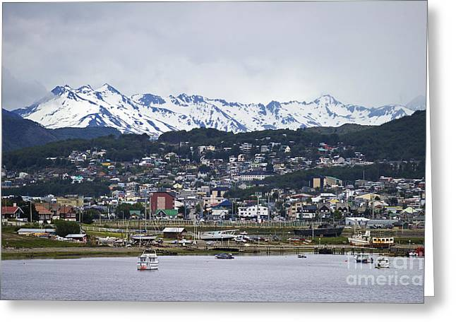 Snow Capped Greeting Cards - The Bay towards Sunset.. Greeting Card by Nina Stavlund