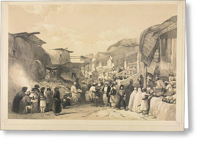 The Bazaar At Caubul Greeting Card by British Library