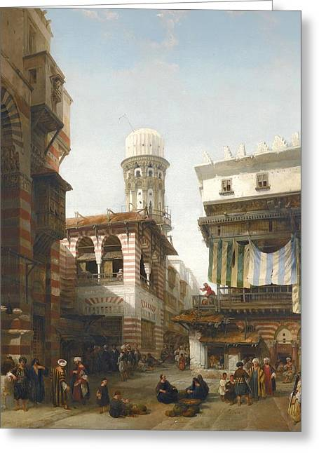 Jihad Greeting Cards - The Bazaar Of The Coppersmiths Greeting Card by David Roberts