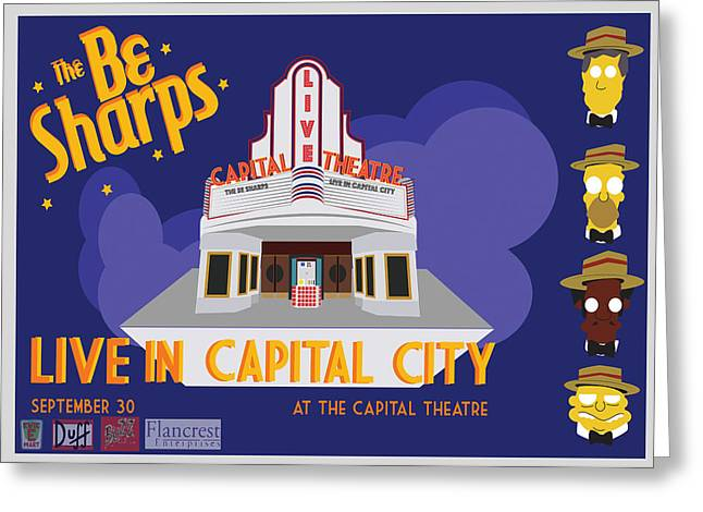 Bart Simpson Greeting Cards - the Be Sharps Live in Capital City Greeting Card by Scott  Colson