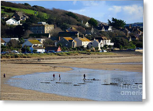 Cornish Beaches Greeting Cards - The Beach at Marazion Greeting Card by Louise Heusinkveld