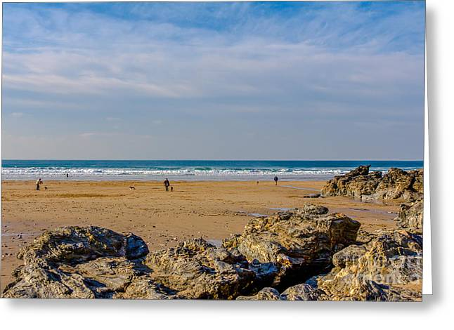 Surfing Photos Greeting Cards - The Beach at Porthtowan Cornwall Greeting Card by Brian Roscorla
